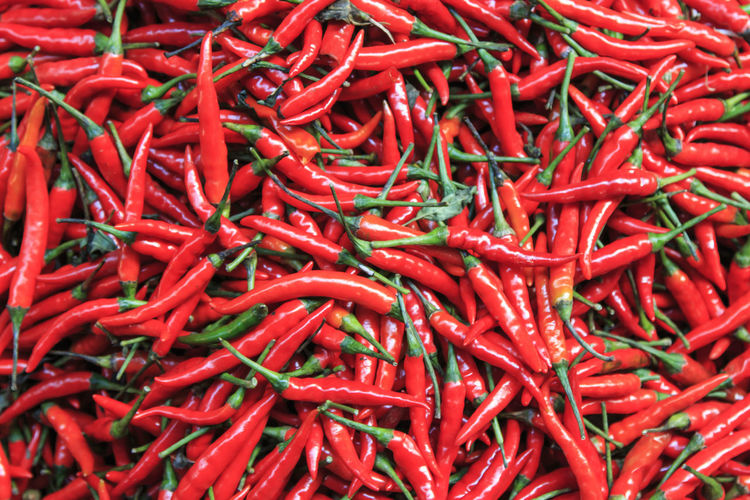 Full frame shot of red chilies