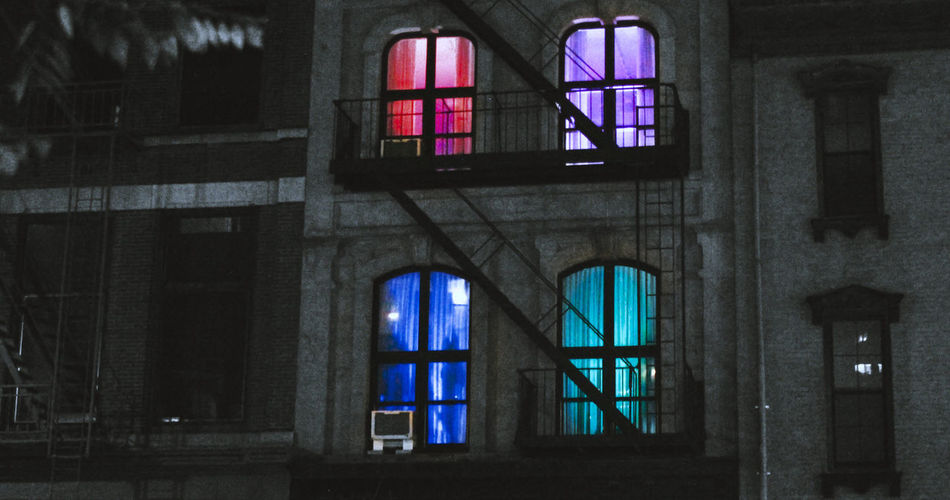 Exterior of illuminated building at night