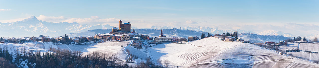Panoramic view of snow covered buildings in city against sky