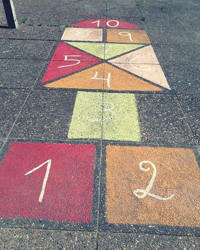 Number Day Street No People Outdoors Hopscotch Communication Close-up Children Playing In School Children Play Whit Numers!! Here in Uruguay we call ralyuela!!!