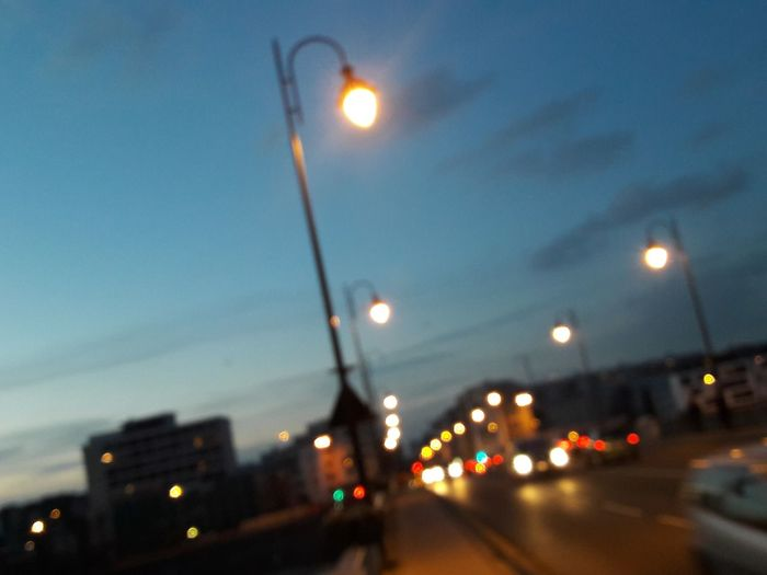 Illuminated Night City Defocused No People Street Light Sky
