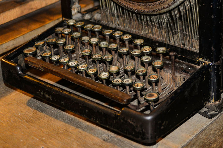 Antique Close-up History Keyboard No People Old-fashioned Retro Styled Typewriter