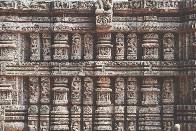 Full frame shot of carvings on temple