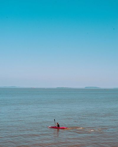 Deep blue Sea Water Nature Tranquility Outdoors Horizon Over Water Day Scenics Paddleboarding Beauty In Nature Oar One Person Adult Sky People Great Outdoors-EyeEm Awards 2017 Live For The Story