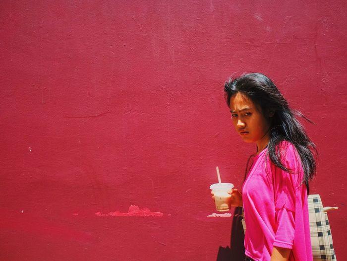 Pink-day Streetphotography Streetphoto_color Pink Woman Portrait Drink Walking Around Wall The Week Of Eyeem Urbanphotography Fujifilm