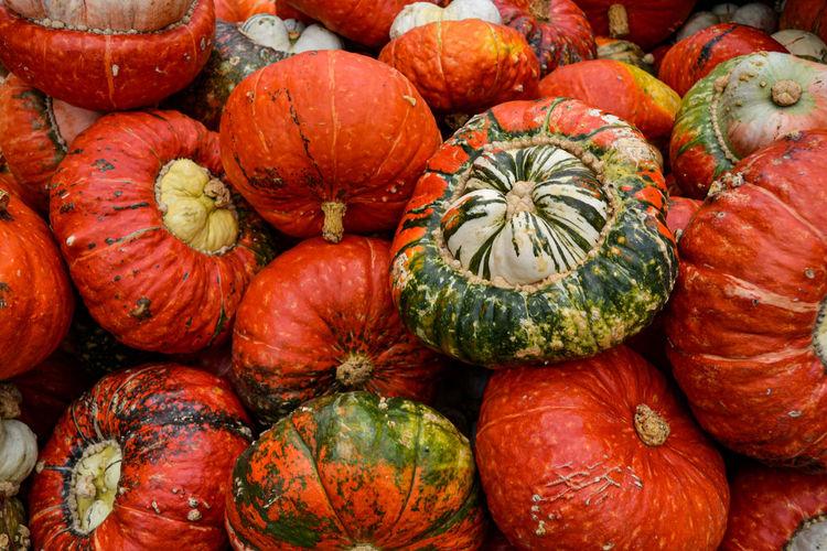 Full frame shot of pumpkins at market stall