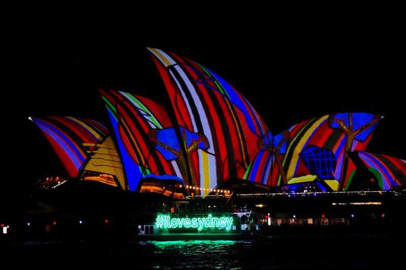 Sydney Opera House I Love Sydney Vivid Darkness And Light No People Eyeemphoto