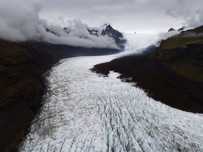Glacier from above in Iceland Nature Power In Nature Beauty In Nature Day Outdoors No People Motion Sky Sea Sand Hot Spring Beach Landscape Wave Water