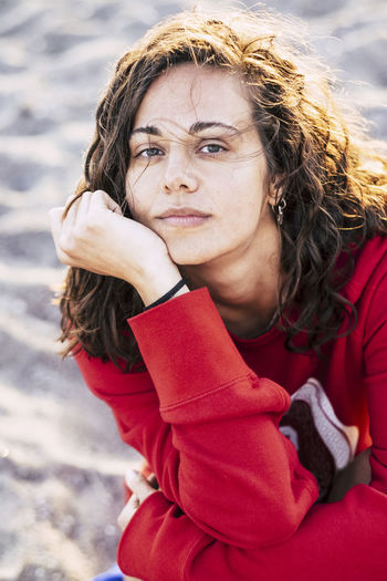 Portrait of young woman at beach