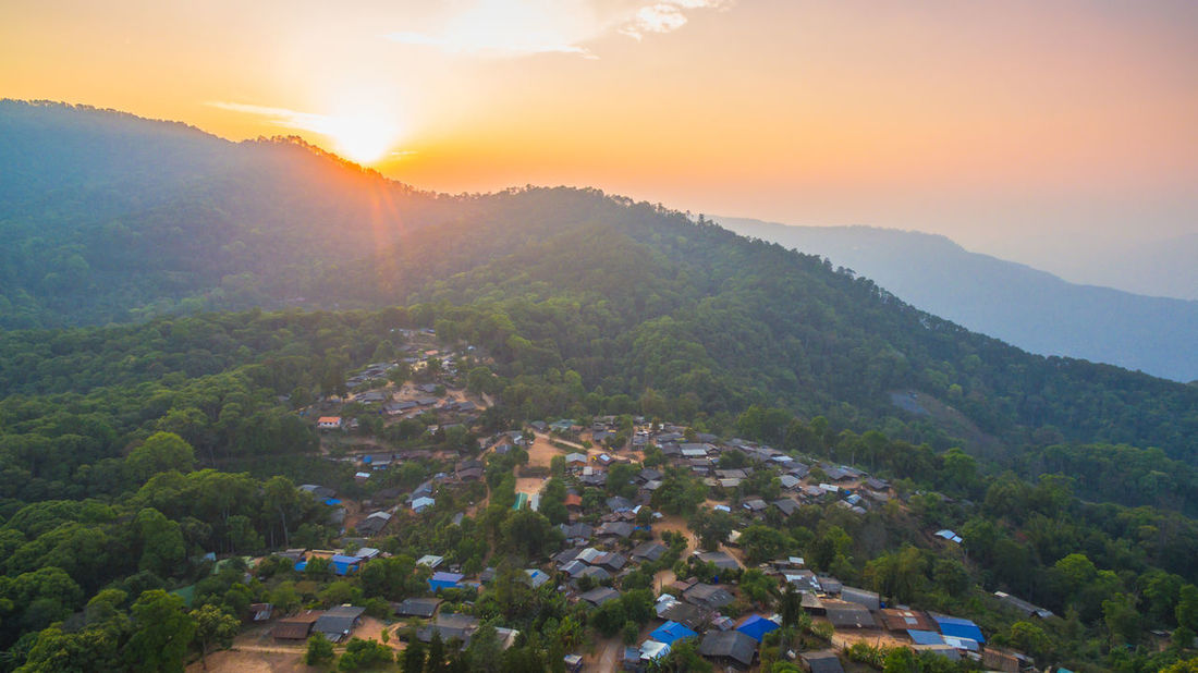 aerial photography Bann Mong Kunchangkien the last Mong hill tribe village on Doi Pui Bann Mong Kunchangkien Chiang Mai | Thailand Cool Doi Pui Doi Suthep Tribal Aerial Hill Trilbe Village North Tribal Village Village