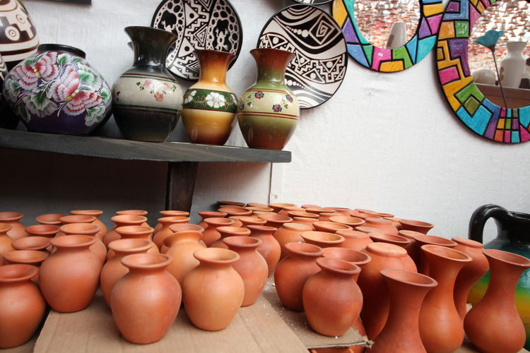 Crafts Market Art Art And Craft Ceramic Ceramic Art Ceramic Art Craft Ceramics Choice Clay Clay Art Clay Work Day Earthenware For Sale Handmade Indoors  Large Group Of Objects No People Pottery Raquira Retail  Shelf Variation