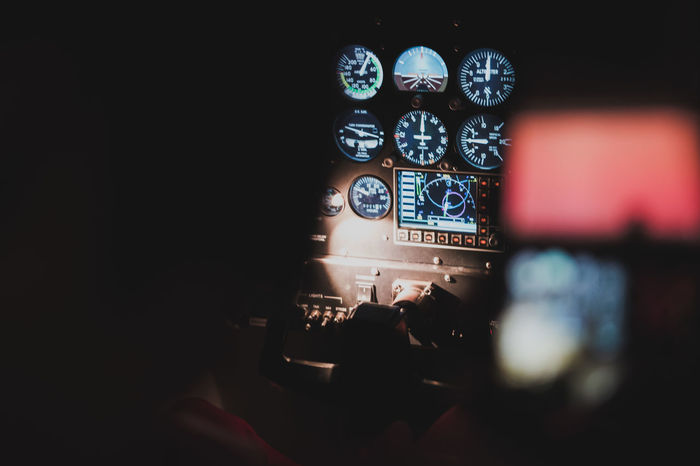 Students training in a fixed base flight simulator. Cockpit Pilot Flight Instruments Flight Instructor Co-pilot Monitor Control Panel Gauge Student Flight Student Training Pilot Pilot Training Airplane Aircraft Flight Simulator Air Vehicle Captain Skill  Occupation Job Airline CPL