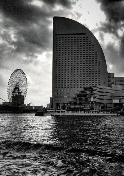 Silhouette Clouds And Sky Edge Monochrome Ferris Wheel Yokohama