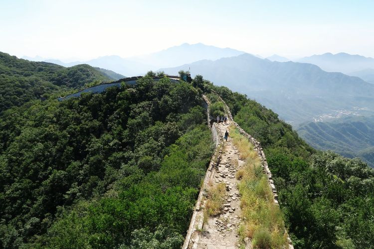 Panoramic view of tourists on mountain