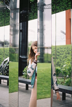 35mm 35mm Film 35mmfilm Analogue Photography Editorial  Fashion Fashion Editorial Fashion Photography Film Photography Filmisnotdead Grass Hidden Hide And Seek Mirror Model Outdoors Reflection