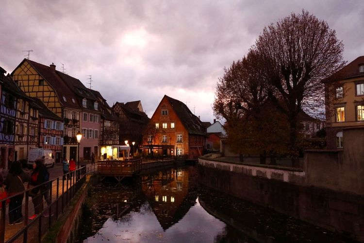 Colmar France Colmar Architecture Landscape_photography Landscape Traveling Street Photography Autumn🍁🍁🍁 Night Photography Night Lights Night Shot Water Reflections Cloud And Sky