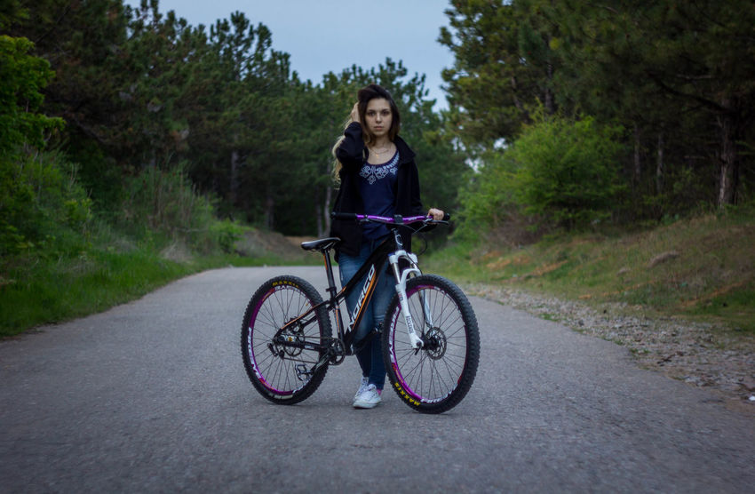Adventure Bicycle Cycling Eye4photography  EyeEm Best Shots Forest Forest Photography Full Length Girl Mountain Bike Nature Photography One Person Outdoors People Portrait Real People Road Spring Springtime The Week Of Eyeem Transportation Tree Woman Wood Young Adult