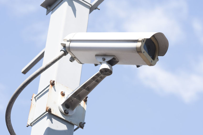 security cameras in garden on blue sky background Record Alarm System Crime Detection Electronic Home RISK Securety View Cctv Cctv Camera Control Danger Guard Monitor Privacy Private Property Protect Safe Secure System Technology Video Warning