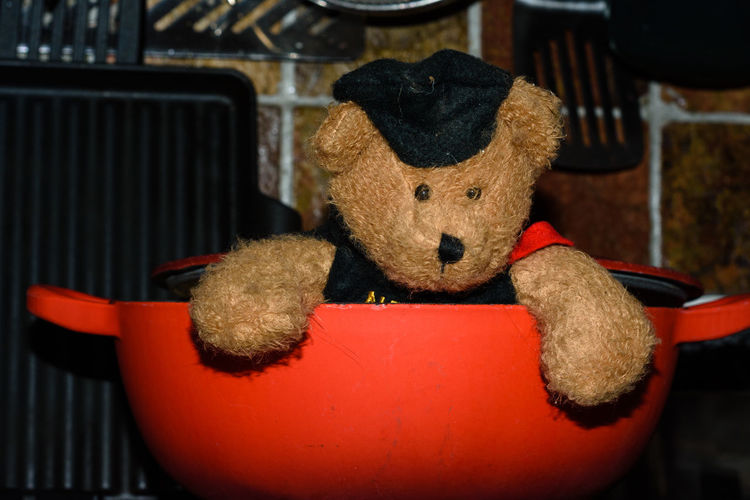 Cooking on gas - bear in a Hot Spot. Taken in my kitchen Dont Light The Gas HOT SPOT! Teddy Bear Boiler Bear In A Pot Bear Portrait Bear Toy Cooking On Gas Gas Hob Help! Helpme Hot Spot Pot Red Pot Stove Top Stovetop Teddy Bear Teddybear