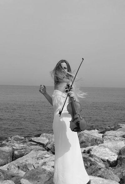 Serenity Series I (A Violinist) Sea Horizon Over Water Clear Sky Nature Beauty In Nature Serenity Blackandwhite Violinist Tranquility