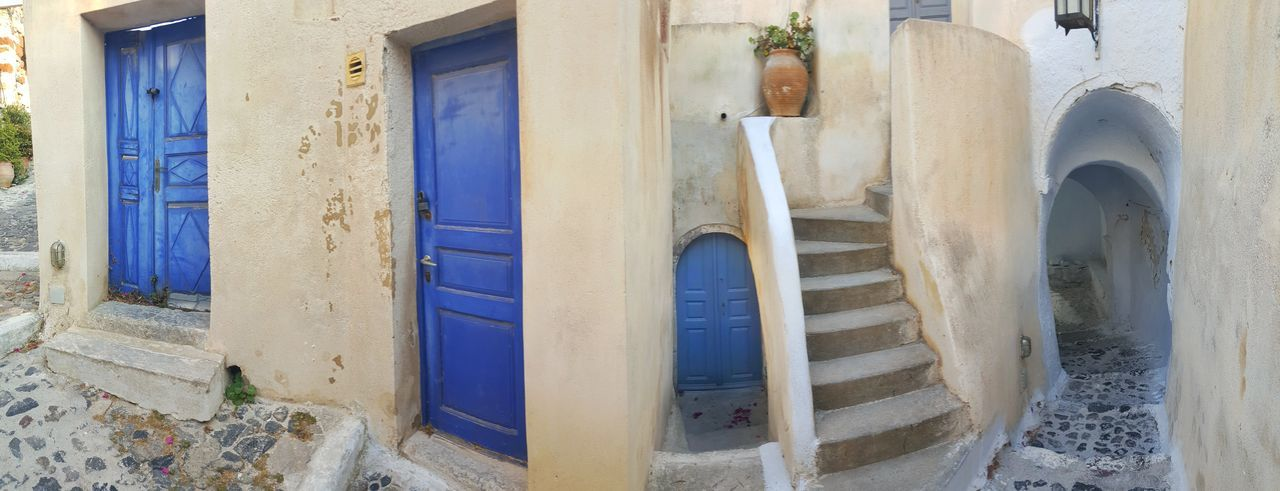 Take your choice... 😉Architecture Door Built Structure Ancient Building Exterior No People Architectural Column Day Indoors  Close-up Choice Desicions Ways Doors Santorini, Greece Stairs Malephotographerofthemonth Panoramic View City Urban