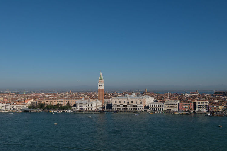 Landscape of Venice from a high point of view San Marco Square Venice, Italy High Angle View Landscape San Marco Church Sea Sea And Sky Sky Wide Angle