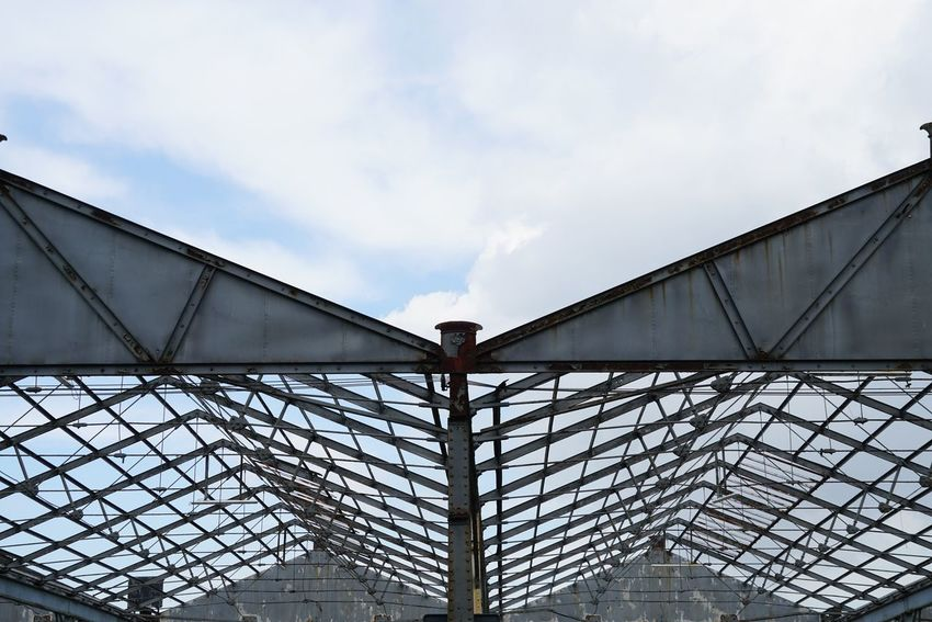 Low Angle View Sky Architecture Day Built Structure Outdoors One Person Hangar Iron - Metal Ironwork  Vintage Roof Old Construction Metal Construction Metalwork Quay Architecture Photography Outdoor Photography Architecture Retro Antwerp, Belgium