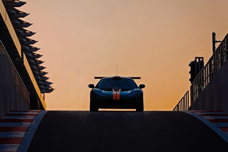 Sunset Sunset Silhouettes Golden Hour Motorsport Lotus Cars Racecar Racetrack Yas Marina Circuit Visit Abu Dhabi Sport Photography