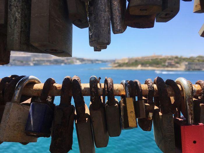 Love Symbol Attached Romantic Padlock Metal Close-up Lock Love Lock Outdoors Water Sky No People Sea Day Nature Summer Focus Object Malta Creek