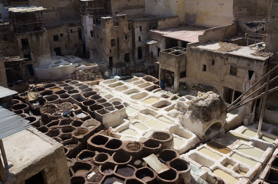 Abundance Architecture Building Exterior Built Structure City Heap High Angle View In A Row Large Group Of Objects Laundry No People Outdoors Residential District Residential Structure Rooftop Sack Slum Tannerie In Fez Tanneries Tannery Town