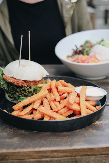 Close-up of burger in bowl on table