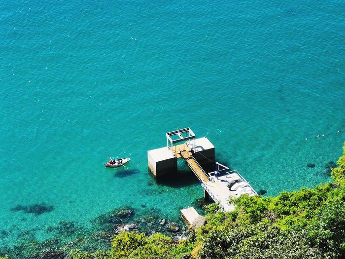 High angle view of fishing boat at sea
