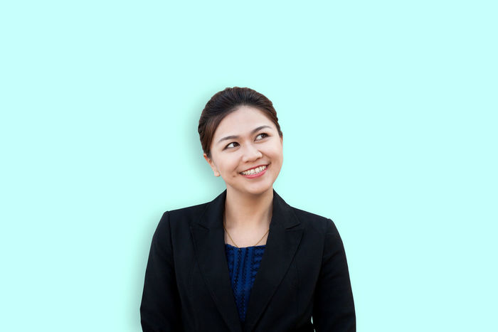 Business woman thinking with looking up in isolated background Asian  Choice Copy Space Isolated Think Positive Thinking Advertisement Business Businesswoman Cheerful Colored Background Confidence  Copy Space Executive  Happiness Looking Manager Portrait Smiling Studio Shot Success Successful Suit Think Women
