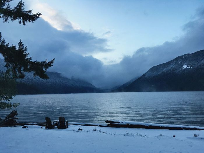 Lake crescent wa Mountain Nature Tranquility Scenics Beauty In Nature Weather Shades Of Winter Sky Cloud - Sky Tranquil Scene Snow Water Mountain Range No People Lake Winter Cold Temperature Outdoors Tree Day The Traveler - 2018 EyeEm Awards