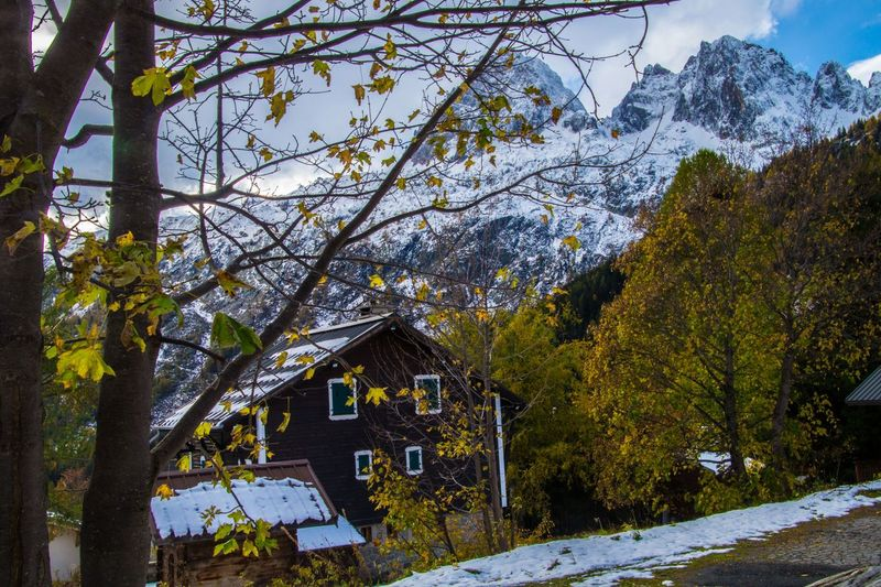 le tour,chamonix,haute savoie,france Tree Plant Architecture Built Structure Building Exterior Nature Building Day No People Beauty In Nature Mountain Scenics - Nature Growth House Snow Outdoors Winter Belief Cold Temperature Tranquility Change