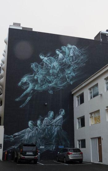 Street art in Reykjavik, Ghosts of people on horses Ghosts Horses Iceland Menschen Pferden Reykjavik Architecture Built Structure City Geister Island Men Outdoors People Streetart