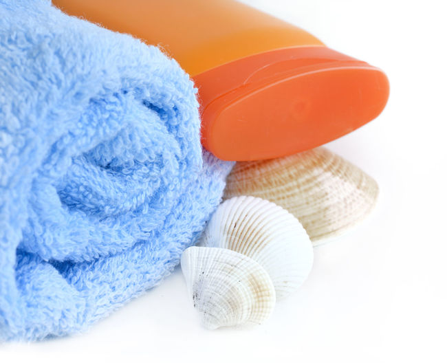 Bath Care Sunblock Backgrounds Beauty Blue Body Care Clean Close-up Group Of Objects Seashell Textile Towel White Background