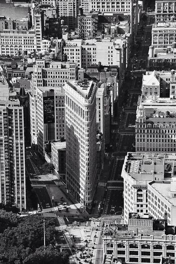 High angle view of flatiron building and cityscape