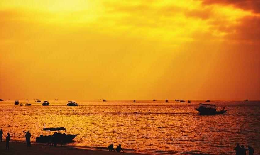 巽寮湾风情 Water Sky Sunset Sea Beauty In Nature Orange Color Nautical Vessel