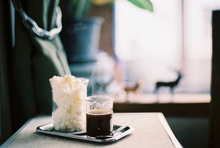 Close up picture of hot coffee and ice cream in a cafe Food And Drink Drink Refreshment Close-up Ice Cream Coffee Cafe Coffee Shop Black Coffee Hot Coffee Dessert Lifestyles Background Beverage Breakfast Relax Delicious Vanilla Film Photography Filmisnotdead Film Filmcamera