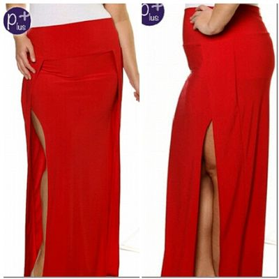 Double Slit Skirt Plus Size NikkiesKorner.com
