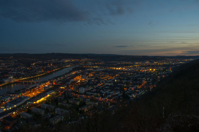 Aerial View City City Life Cityscape Illuminated Moselle Night Nightlife Outdoors Treves Trier Urban Skyline