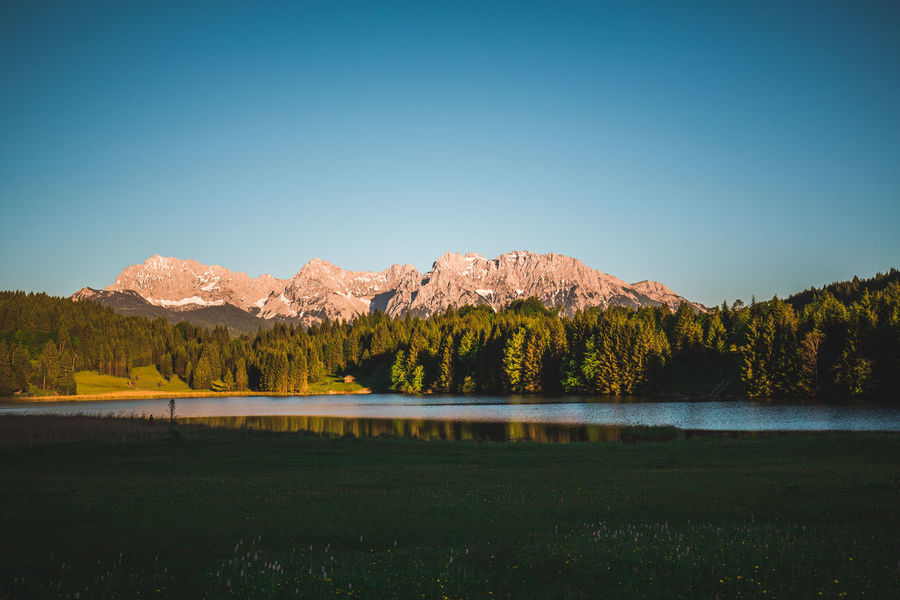 Bavaria Calm Karwendel Mood Captures Sunset_collection Travel Beauty In Nature Clear Sky Day Germanroamers Geroldsee Idyllic Lake Landscape Mountain Mountain Range Nature No People Outdoors Reflection Scenics Sky Tranquility Tree Water