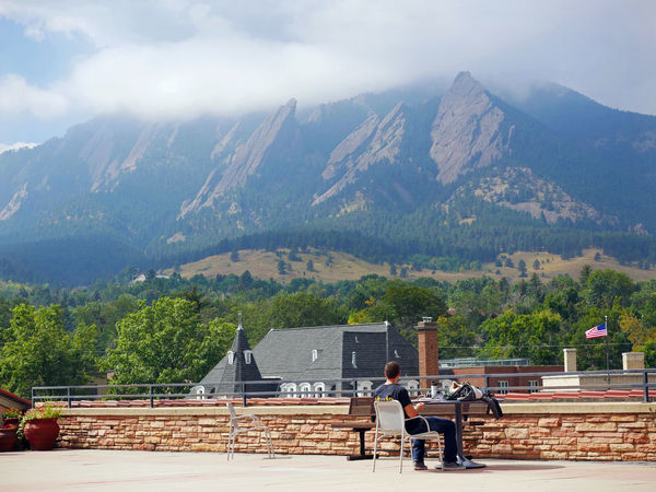 Hard to get any studying done with this view! Mountain Rear View Mountain Range Person Architecture Built Structure Men Cloud - Sky Day Outdoors Beauty In Nature Tourism Tranquil Scene Tranquility Nature Observation Point Boulder Boulder Colorado University Of Colorado Boulder