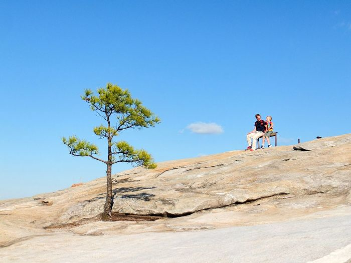Hiking Outdoors Clear Sky Nature Sky Scenics Beauty In Nature Springtime Tree Tranquility Travel United States Georgia Stone Mountain Park Ga Two People Father & Son Rock - Object Blue Blue Sky Connected By Travel Perspectives On Nature