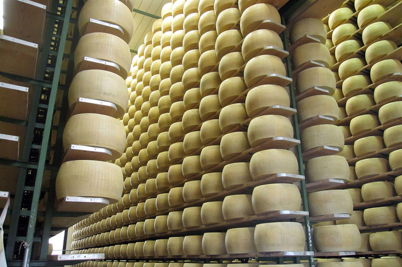 Caseificio italiano Abundance Backgrounds Cheese Cheese! Formaggio Full Frame Grana Padano In A Row Large Group Of Objects Repetition