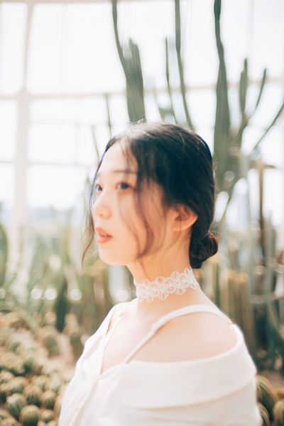 dreamy Asian  Cactus Cactus Garden Beautiful Woman Causal Clothing Day One Person Outdoors White Young Adult Young Woman
