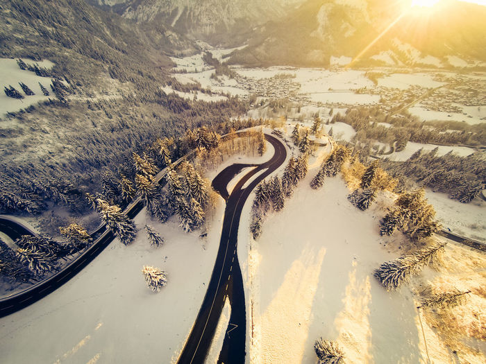 Aerial view of road during winter