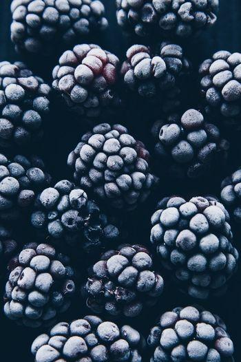 Full Frame Shot Of Frozen Blackberries