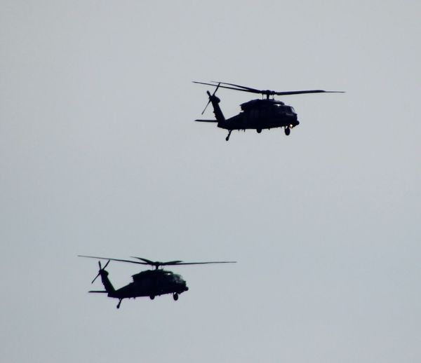 Two Helicopters Air Vehicle Low Angle View Transportation Clear Sky